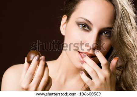 Sensual chocolate girl, portrait of a young b brunette beauty. - stock photo