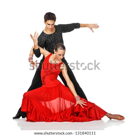 Sensual couple dancing salsa. Latino dancers in action. Isolated on white