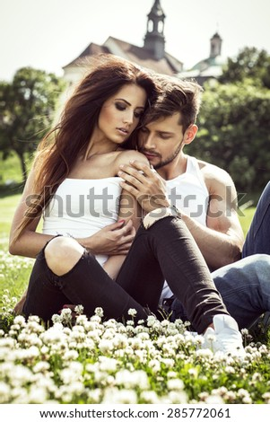 Sensual couple touching each other  - stock photo