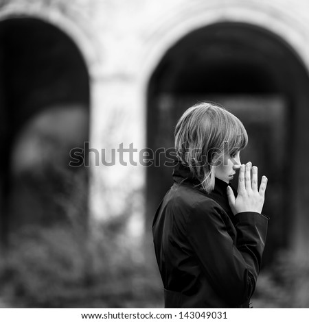 sensual emotive portrait of woman outside - stock photo