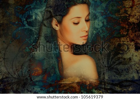 sensual fantasy woman portrait, photo compilation - stock photo