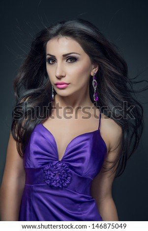 sensual fashion portrait of beautiful sexy brunette girl model   - stock photo