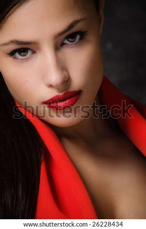 sensual female portrait, closeup - stock photo