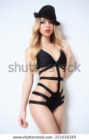 sensual girl in fashionable swimsuit - stock photo