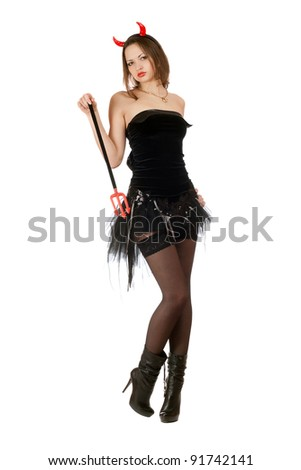 Sensual girl is wearing a sexy devil costume - stock photo