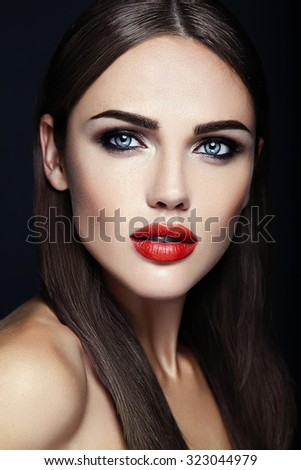 sensual glamour portrait of beautiful  woman model lady with fresh daily makeup with red lips color and clean healthy skin face  - stock photo