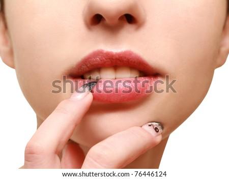 sensual lips - stock photo