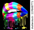 Sensual Lips Psychedelic Rainbow Paint - stock vector