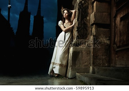 Sensual old-fashioned young woman - stock photo