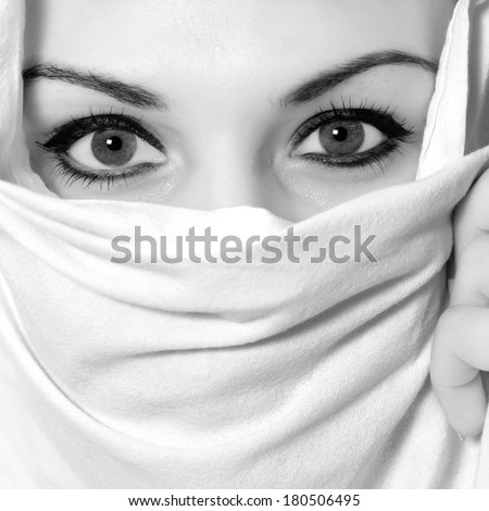 Sensual portrait in black and white of a fresh beauty arabian girl with hijab - stock photo