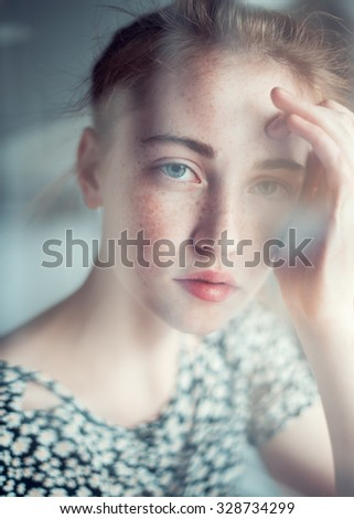 sensual portrait of a beautiful young girl close-up - stock photo