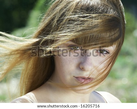 sensual portrait of beautiful girl with long hair - stock photo