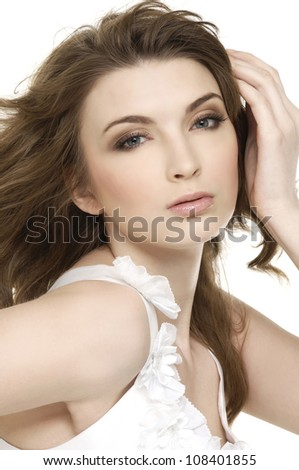 Sensual pretty woman with beautiful long hairs - stock photo