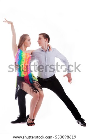 sensual salsa dancing couple on white background