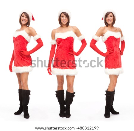 Sensual Santa Claus woman composition set isolated on white