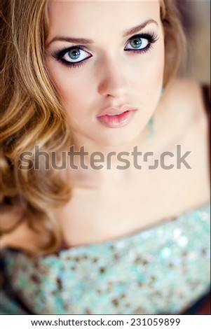 Sensual sexy blonde girl with blue eyes, close-up - stock photo