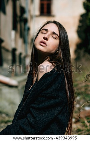 Sensual Sexy hipster girl woman on street with beautiful long hair