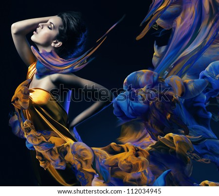 sensual woman and paint waves - stock photo