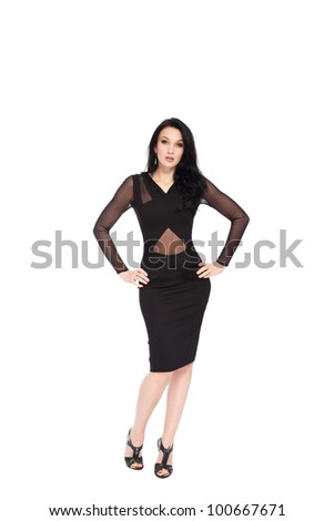 sensual woman full length posing in a black evening dress, sexy girl portrait isolated over white background