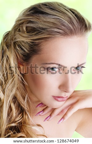 Sensual woman model with long blond hair - stock photo