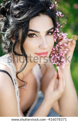Sensual woman outdoors, happy female on nature summer portrait, pretty lady 30-35 years old in park, italian beauty  - stock photo