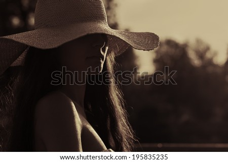 Sensual woman portrait - stock photo