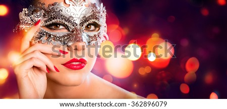 Sensual Woman With Carnival Mask - Red Golden Background  - stock photo