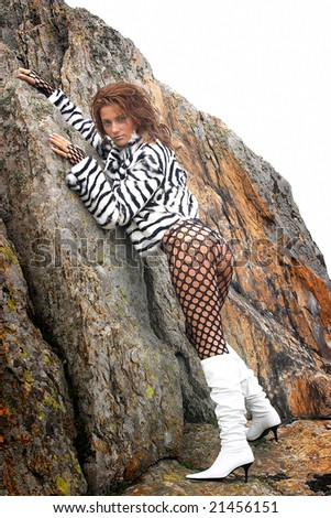 sensual woman with fur coat outdoor