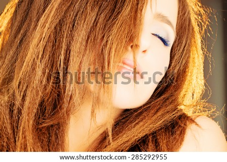 Sensual Woman with Red Curly Hair - stock photo