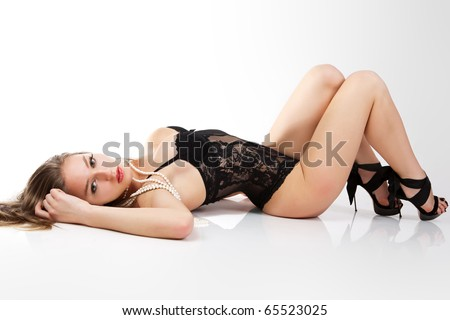Sensual women in black lingerie. - stock photo
