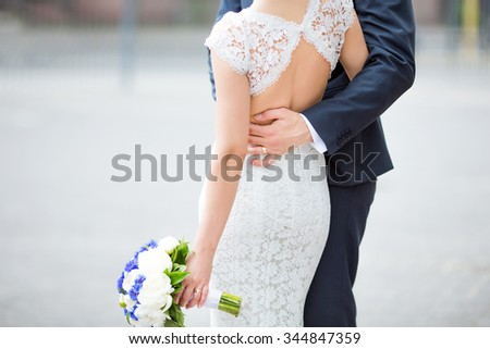 Sensual young happy couple celebraiting wedding day.