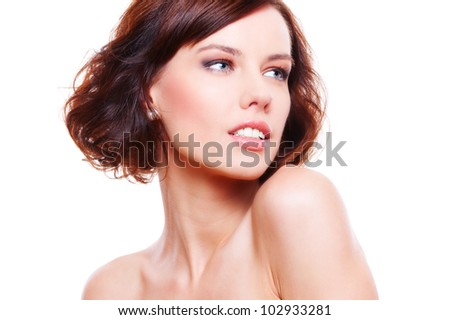 sensual young woman in studio isolated on white background