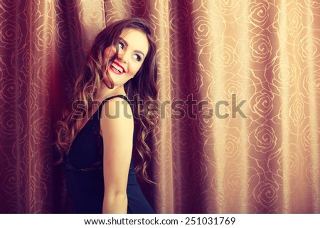 Sensuality and fashion. Young seductive sexy attractive woman in lingerie curtains indoors. - stock photo