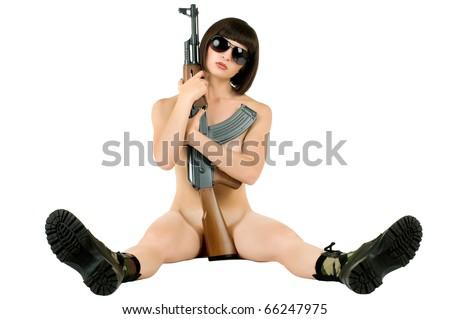 sensuality  beautiful sexy girl  embrace  submachine gun, on white background,  isolated - stock photo