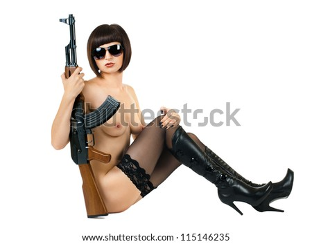 sensuality  beautiful sexy nude girl with submachine-gun, on white background, isolated - stock photo