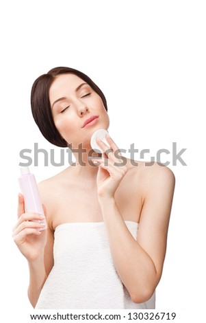 Sensuality young beautiful woman with closed eyes isolated on white background - stock photo