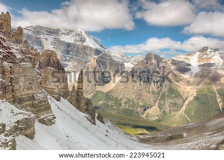 Sentinel Pass, Paradise Valley, Mount Aberdeen, Banff National Park, Alberta, Canada - stock photo