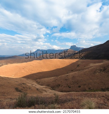 Sentinel Peak in the Drakensberg region in South Africa  - stock photo