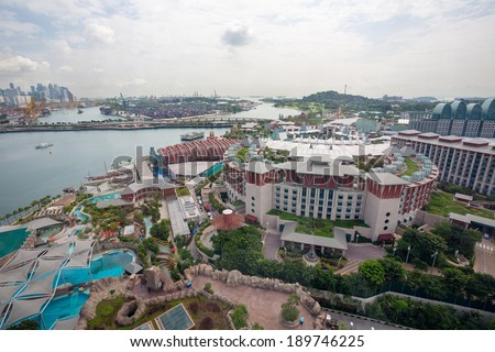 Sentosa is a popular island resort in Singapore - stock photo