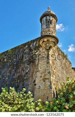 Sentry box atop the wall that protected San Juan - stock photo