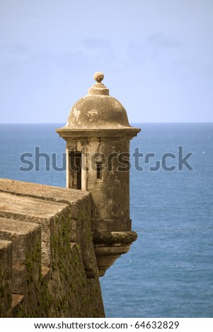 Sentry box located at El Morro in Old San Juan Puerto Rico. - stock photo