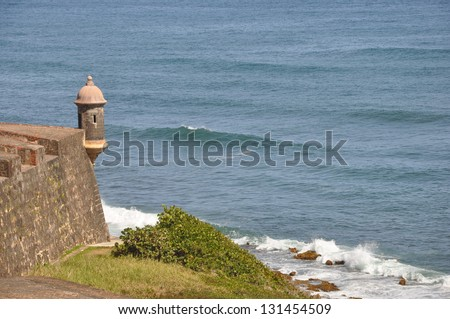 Sentry overlooking the water - stock photo