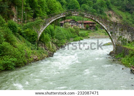 Senyuva Bridge over the Firtina river in Northern Turkey - stock photo