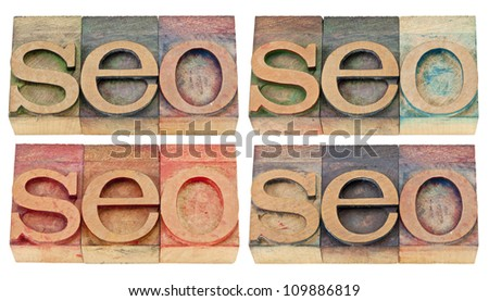 seo abstract (search engine optimization) - isolated text in vintage letterpress wood type, four versions