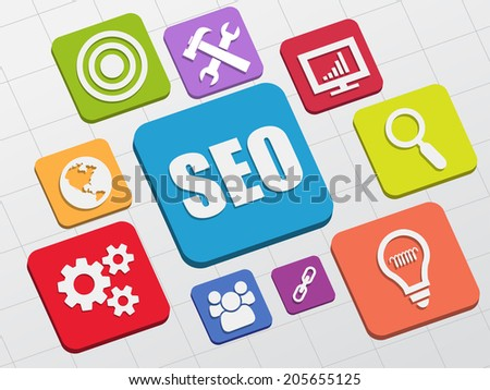 SEO and internet signs - white symbols in colorful flat design blocks, business technology concept icons - stock photo