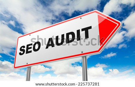 Seo Audit - Inscription on Red Road Sign on Sky Background.