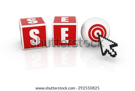 Seo block and arrow cursor - stock photo