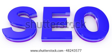 seo blue letters on white background
