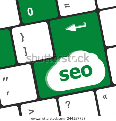 SEO button on the keyboard. Business concept - stock photo