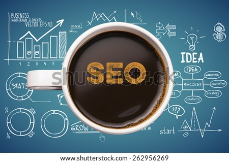 seo. coffee cup with business sketches background - stock photo